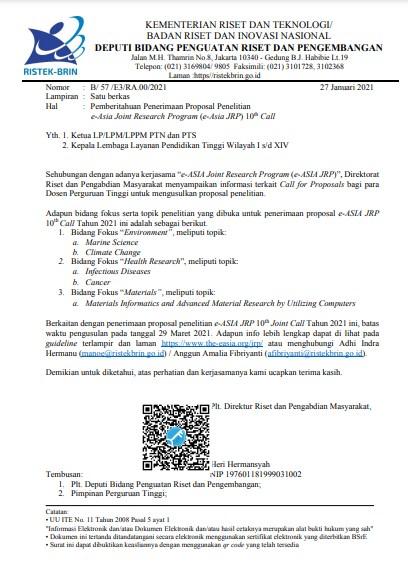Pemberitahuan Penerimaan Proposal Penelitian e-Asia Joint Research Program (e-Asia JRP) 10th Call